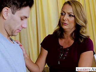 Tanned adult Brenda James gets intimate connected with several young dude