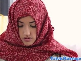 Arab teen less hijab came almost rub down