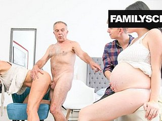 Couple with pregnant wife watch the grandpa fuck