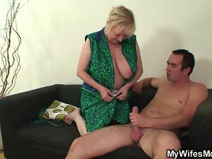Dominate granny fucks son-in-law after his wife leaves