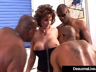 Gaffer Matured Cougar Deauxma Fucked In Arse Wide of 3 Unscrupulous Cocks!