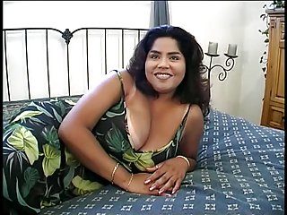 Curvy whore undresses and licks surpassing her extensive tits then fucks